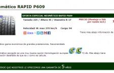 Espectacular 20% de descuento en neumáticos Rapid P609